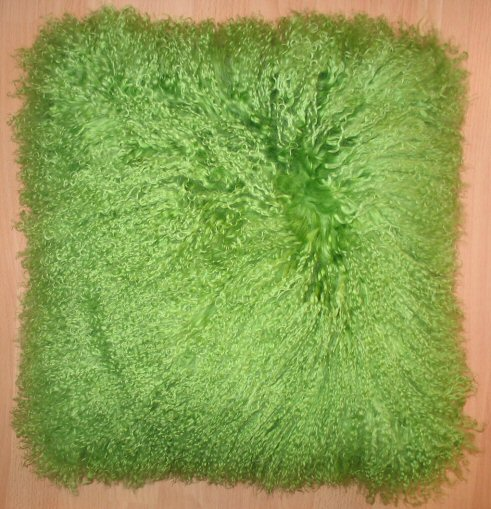 Real Mongolian Fur Cushion In Apple Green A Bentley Cushions