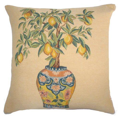 Lemon Tree And Vase Tapestry Cushion A Bentley Cushions