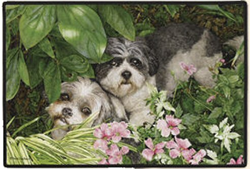 Shih Tzu Garden Party Doormat