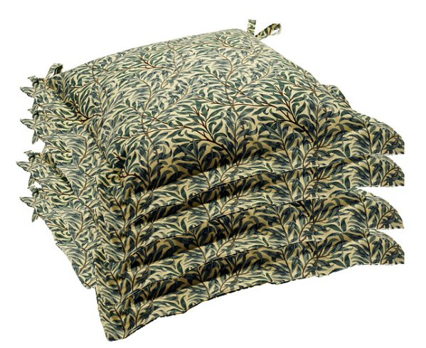 William Morris Set Of 4 Seat Pads In Willowbough Green A