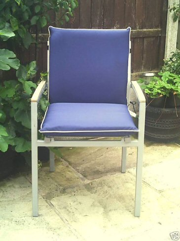 low back shower proof blue garden chair cushion a bentley cushions