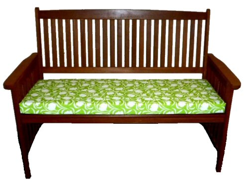 Three Seater Waterproof Garden Bench Cushion Tulip Lime