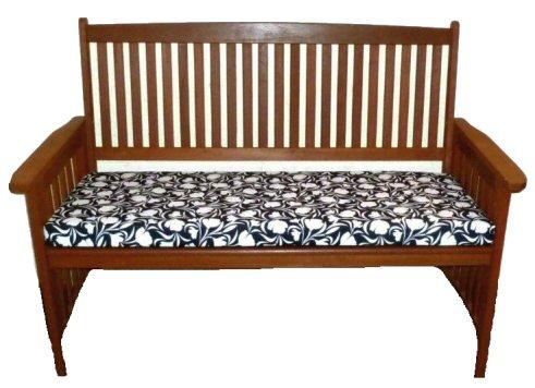 Two Seater Waterproof Garden Bench Cushion Tulip Black